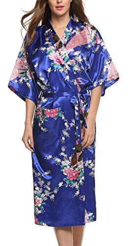 Satin-kimono-robe Kurzen (Damen Morgenmantel Kimono Robe Bademantel Nachtw?sche kurz aus Satin mit Peacock und Bl¨¹ten entwerfen Robe f¨¹r Hochzeit & Party & Schlafzimmer Lange Stil Sky Blue XL)