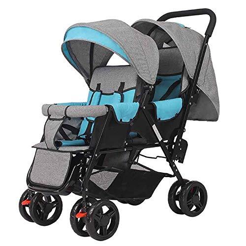 Doppelter Kinderwagen, einfach zusammenzufalten und aufzubewahren - großer tragender Doppel-Zweisitzer-Kinderwagen - 0-3 Jahre alt (Color : Blue+gray)