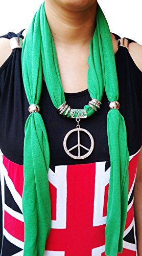 Metal Ringed Adjustable Necklace Jewelry Pendant Light Weight Scarf(180cm-green)