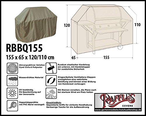Raffles Covers RBBQ155 BBQ Grill Abdeckhaube 155 x 65 H: 120/110 cm Wetterschutzhülle für Grill, Abdeckplane BBQ