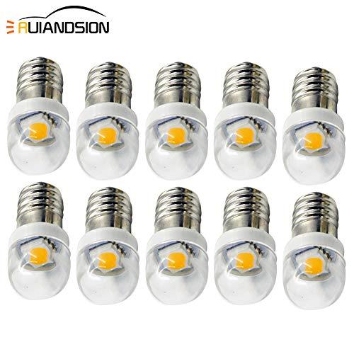 Ruiandsion - 10 bombillas LED E10 de 3 V, 6 V, 12 V, 0,5 W, 5050, 1 SMD, color blanco cálido, para faros delanteros, linternas, antorcha, tierra negativa, 10 unidades, Blanco, 3 V 0.50watts 3.00volts