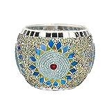 VNEIRW Windlichthalter Glas Weihnachten, Modern Bunt Mosaik Mandala Crack-Muster Kerzenständer für Romantisch Hochzeit Weihnachtsdekoration,Kerzenhalter - Tolles Geschenk (A)