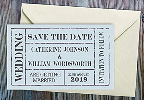 Save the Date Magnets - 50 Personalised with your names and date to save you time. Blue Theatre / Cinema Ticket Save Date Cards with Envelopes.