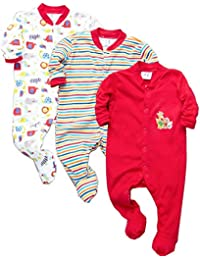 Tinchuk Cotton Multi Color Romper Body Suite for New Born Baby Pack of 3