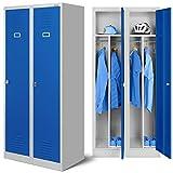 Stahlspind Garderobenschrank Spind Kleiderspind Doppelspind 2 Abteile Flügeltüren Trennwand Pulverbeschichtung 180 cm x 80 cm x 50 cm(H x B x T) (grau/blau)