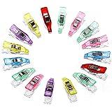 Anpro 60 Stück Klammer 27 x 4 mm Nähen Zubehöre Nähzubehör Stoffklammern 6 Farben für Nähen, Quilting Clips, Häkeln