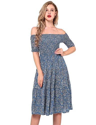 Yidarton Damen Blumen Kleider Kurzarm Sommerkleid Schulterfrei Elastische Taille Kleid Strandkleid Midikleid Partykleider (Medium,Blau)