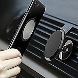 CLM-Tech Autohalterung für Handys, 360° Drehbar magnetischer Kfz Smartphone Halter Universal Auto Halterung [Zum Befestigen an der Lüftung] [Magnet für Handy und Handyhülle] [Farbe: Schwarz]