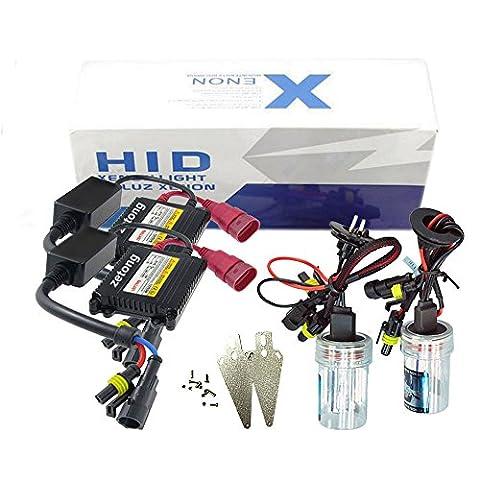 Zetong france xenon 12V 35W DC Hid Conversion Kit Xénon Kit de conversion Slim Xenon HID Set,ampoule xenon, xenon hid Ampoule de rechange, Premium Ballasts et Accessoires Inclus (H1-6000K )