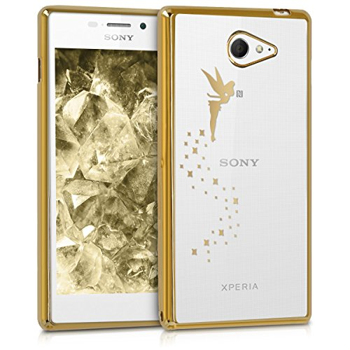 kwmobile Sony Xperia M2 Hülle - Handyhülle für Sony Xperia M2 - Handy Case in Gold Transparent