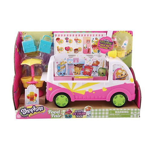 Once you shop, you can't stop! Build up your Shopkins world with the Scoops Ice Cream Truck Theme Playset! Comes complete with a very cool ice-cream truck, umbrella stand, 2 exclusive Shopkins and 2 exclusive shopping bags. Shop to it - collect them ...