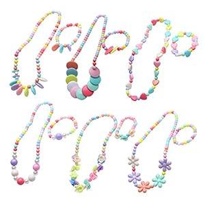 TOYMYTOY 6 Set Prinzessin Halskette und Armband Schöne Kinder Schmuck-Set für Kinder, Candy Farbe