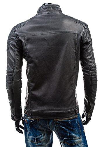 BOLF - Veste - Faux cuir - Fermeture éclair – ISSHO 1775C – Homme Graphite