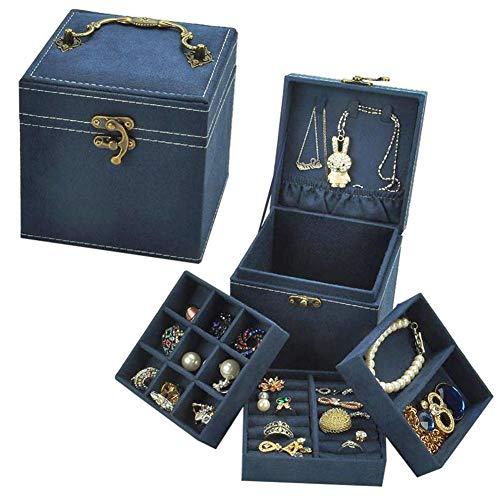 Libertry 3-Schicht-Halskette Schmuck Aufbewahrungsbox Schmuckschatullen mit Schloss Schmuck Rack Halter Ohrringe Aufbewahrungskoffer -