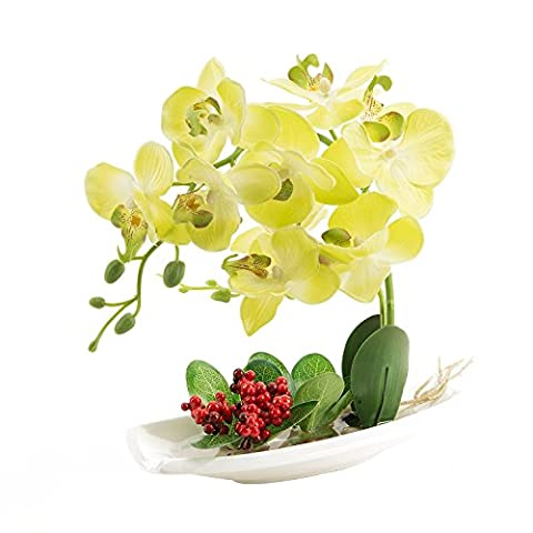 Home furnishing artificial flowers miniascape faux water plants yellow 23*9*26cm