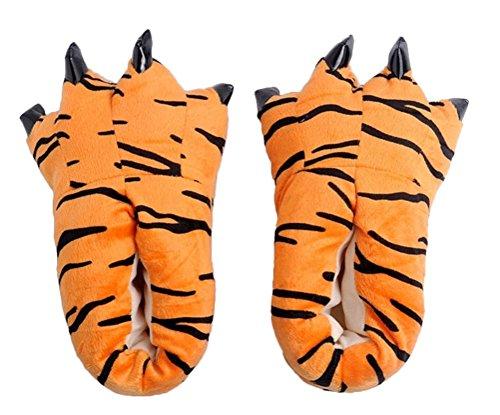 Brinny Kuschel Cartoon Kostüm Slipper Pantoffel Tierhausschuhe Bärentatze Kralle Monsterkralle Unisex Damen/Herren Hausschuhe, Tiger - S