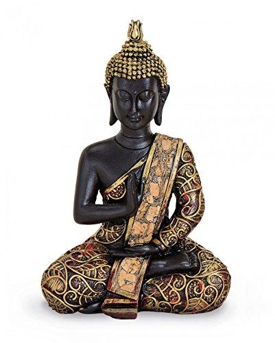 Tempelwelt Figura de Buda Estatua AMOG hasiddhi Sentado 15cm Grande (polirresina Negro Oro, dhyani de Buda Figura Decorativa Thai Buda Estatua Figura de Buda