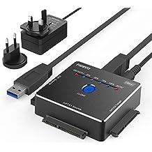 """FIDECO USB 3.0 a IDE e SATA Converter Hard Drive Adattatore per 2,5"""" e 3,5""""SATA HDD SSD/3.5 """"e 2.5"""" IDE HDD, Supporto Offline Clone, Incluso Adattatore di Alimentazione DC 12V 2A & Cavo USB 3.0"""