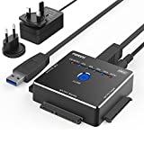 USB IDE o SATA Adaptador, FIDECO Adaptador de Disco Duro de Aluminio USB 3.0 para 2,5/3,5 Pulgadas SATA HDD/SSD & 3,5 Pulgadas IDE HDD, Apoyo Fuera de Línea clon, Incluye 12 V 2 A Adaptador de Corriente y USB 3,0 Cable