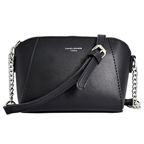 - 51Orr8tZJDL - David Jones – Women's Small Zipper Cross Body Bag – Silver Chain Shoulder Strap – Rigid Faux Leather Ladies Saddle Bags – Trapeze Purse Wallet Messenger Fashion Girl Travel Handbag – Black