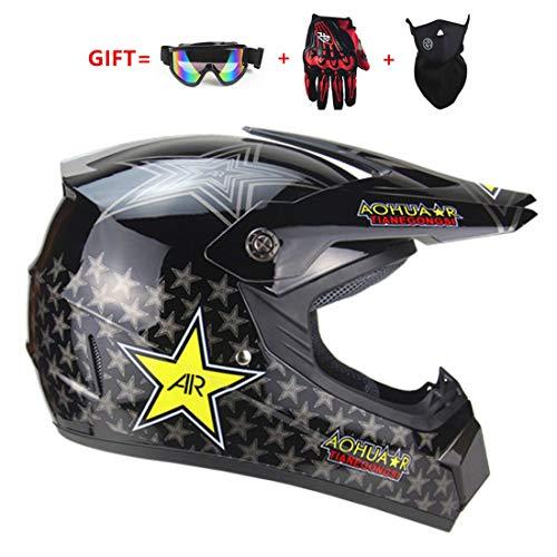 TLPSB Motocross Motorrad Motorradhelme & Schutzhandschuhe D.O.T Zertifizierung Kinder Quad Bike MX Motoradhelm ATV Go Kart Helm (S, M, L, XL),A,M57~58CM (Kinder-go-kart-helm)