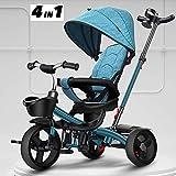 SSLC Baby Babywagen Dreirad Kinderwagen Dreirad Ab 1 Jahr Mit Lenkbarer Schubstange, FlüSterleise Gummireifen Und Sonnendach,Durch 4-Fach Umbau,1-5 Jahre Geeignet, Blue