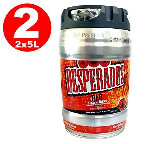 2 x Desperados red Bier mit Tequila, Guarana, Cachaca, Partyfass 5 Liter Fass inkl. Zapfhahn 5,9{5133fc2615ec4ed5ef5c2647a75ef5bbded294cd6e3634cb0cc42f73db463f7f} vol.