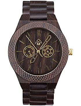 [Gesponsert]leafwood, der juglan Mutter Gold, natur dunkel braun Sandelholz Herren Holz Armbanduhr
