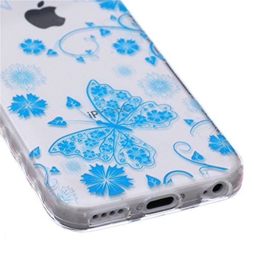 iphone 5C Coque, MYTH Doux Flexible - Beau Papillon Slim Silicone Ultra Mince TPU Bumper Protection Housse Pour iphone 5C Beau Papillon