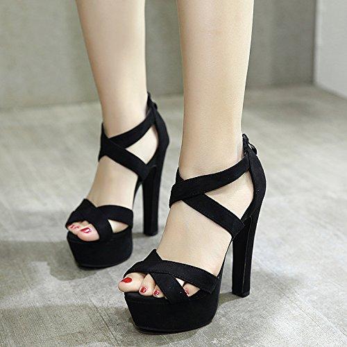 GTVERNH-8.5cm estate scarpe nere sexy spesso benda documentario panni high eye bocca di pesce scarpe impermeabili i sandali.,37 Thirty-eight