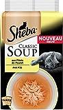 SHEBA Set de 12 Soupes aux Filets de Poulet pour Chat 4 x 40 g 48 Sachets Fraîcheur