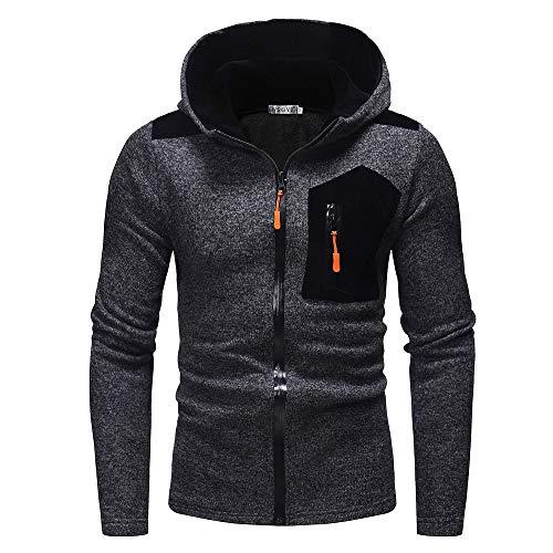 UJUNAOR Männer Langarm Hoodie Winter Herbst Sweatshirt Top Outwear Mit Kapuze(Schwarz,CN ()