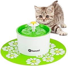 Hommii Haustier Blumentrinkbrunnen für Katzen Automatisch Trinkbrunnen mit Kohlefilter Pet Water Fountain Drinking Blau Grün Orange