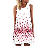 TUDUZ Damen Sommer Vintage Boho Ärmelloses Sommerstrand Gedruckt Kurzes Minikleid Blumenkleid T-Shirt Tops Kleider-Faschingskostüme (Weiß-G, S)