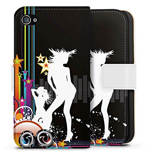 Apple iPhone X Silikon Hülle Case Schutzhülle Disco Party Silhouette Sideflip Tasche weiß