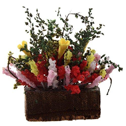 Pot Fleurs - SODIAL(R) Fleurs Multicolores Miniatures avec Pot de Bois pour Maison de Poupee 1/12 echelle