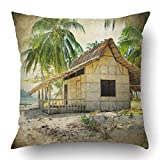 YYERINX Throw Pillow Covers Blue Vintage Hut on The Tropical Beach Retro Styled Bungalow House Philippines Beautiful Coastline Polyester 18 X 18 Inch Square Hidden Zipper Decorative Pillowcase
