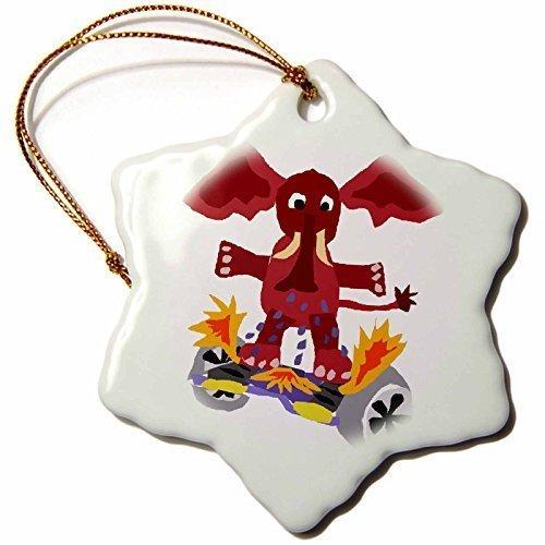 Pansy divertente Natale fiocco di neve ornamenti elefante divertente su hoverboard putting out fuoco vacanza albero di Natale, ornamenti decorazioni regali