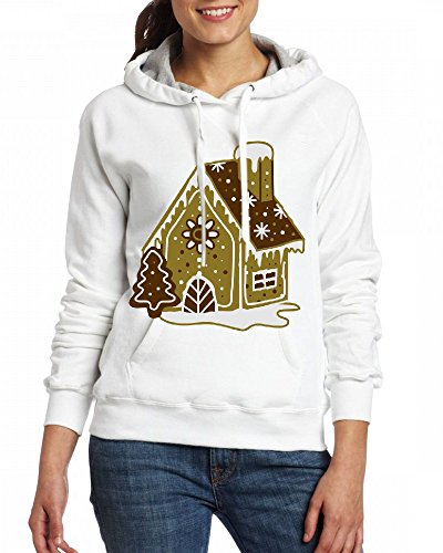 Custom Womens Hooded - Design A gingerbread house gingerbread and frosting Hoodies White