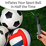 Sports Stable Ball Pump with 2 Spare needles: Dual-action Air Pump for your Football, Rugby Ball, Volleyball, Basketball, Handball and other inflatable balls