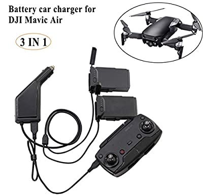 Crazepony-UK DJI Mavic Air Battery Car Charger, 3 IN 1 Intelligent Battery Charger Accessories for DJI Mavic Air Batteries and Remote Controller 6A Output