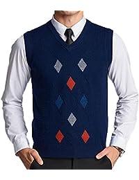 UP Herren V-Ausschnitt Slim Fit Argyle Muster Pullunder Wollweste Strickweste  Weste c08deb5405
