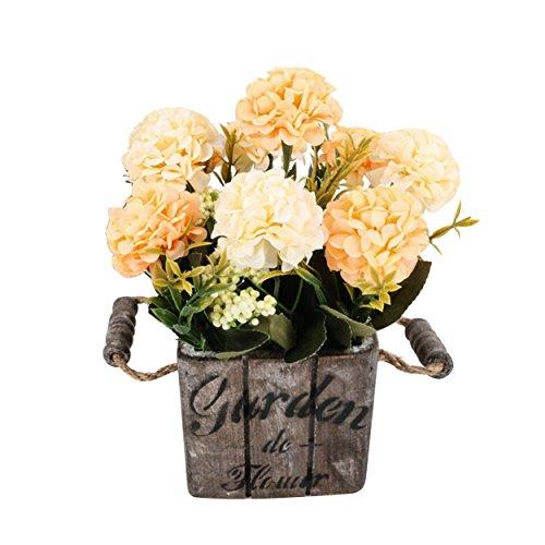Flikool Hortensie Künstliche Blumen mit Holztopf Gefälschte Künstliche Pflanzen mit Topf Simulation Topfpflanzen Bonsai Hydrangea Kunstblumen Kunstpflanzen Ornaments Dekorationen - Champagner Blumen mit Square Dunkel Pot