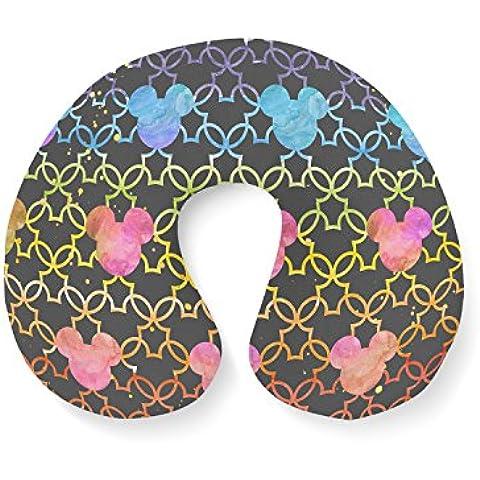 Mickey Mouse Watercolor arco iris oscuro viajes cuello almohada hinchable