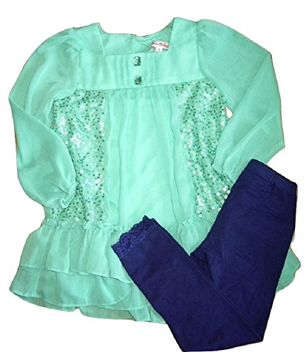 33745e84d2c8 Jona Michelle Girls Green Chiffon Style Sequin Dress   Blue Leggings Set  23