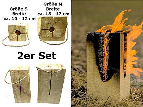 *Schwedenfeuer Gr. S+M rechteckig Set (H: ca. 24 cm) Baumfackel / Baumstammfackel für Party's*