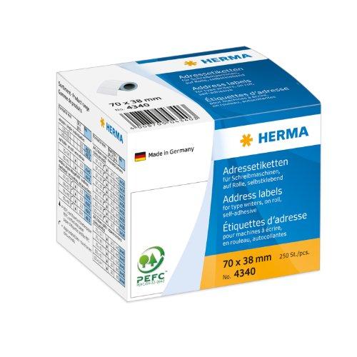 Herma 4340 Schreibmaschinen Adressetiketten auf Rolle (70 x 38 mm) weiß, 250 Adressaufkleber, Papier matt, selbstklebend