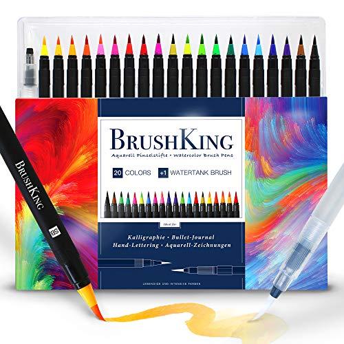 BrushKing 20+1 - Brush Pen Set Pinselstifte. Pinselstift-Set mit 20 Farben und einem befüllbaren Wassertankpinsel. Für Kalligraphie, Bullet Journal, Hand-Lettering, Watercolor / Aquarell-Zeichnungen