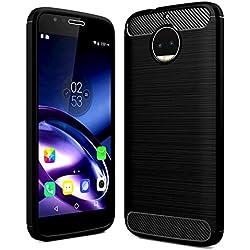 Golden Sand Rugged Armor Shock Proof TPU Back Case For Moto G5S Plus Mobile Phone [5.5Inch August 2017], Lunar Black