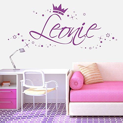 Wandtattoo-Loft Wandaufkleber Mädchen Junge Wunschname mit Sternen und Krone/Lavendel/Höhe 58 cm + Länge des Namen